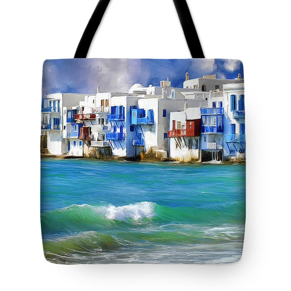 Waterfront At Mykonos Tote Bag