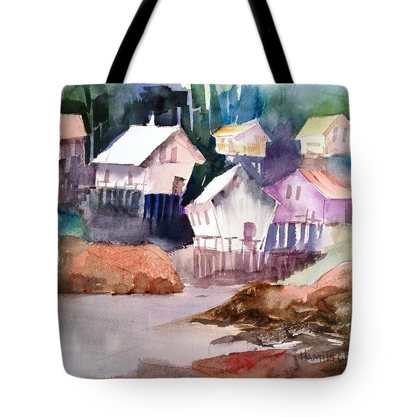 Waterfront Cabins Tote Bag