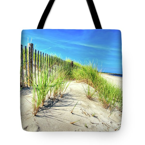 Tote Bag featuring the photograph Waterfront Sand Dune And Grass by Gary Slawsky