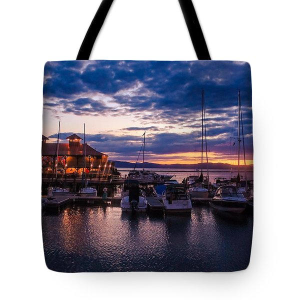 Waterfront Summer Sunset Tote Bag