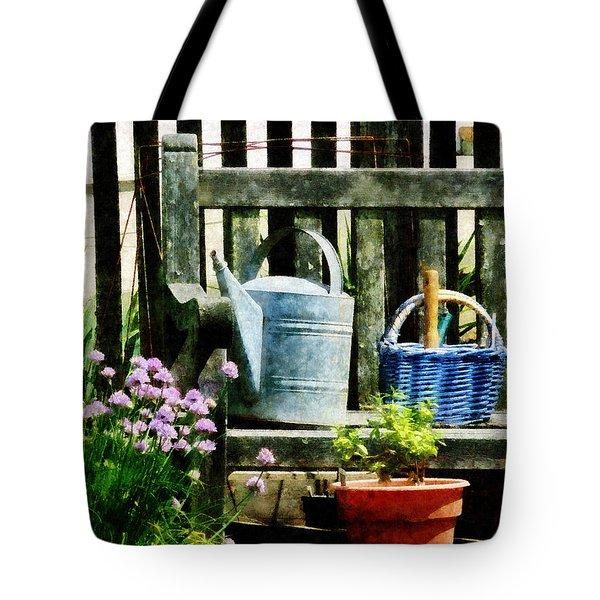 Watering Can And Blue Basket Tote Bag by Susan Savad