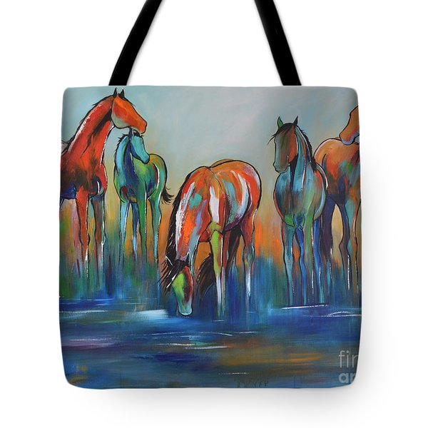 Tote Bag featuring the painting Watering Hole 5 by Cher Devereaux