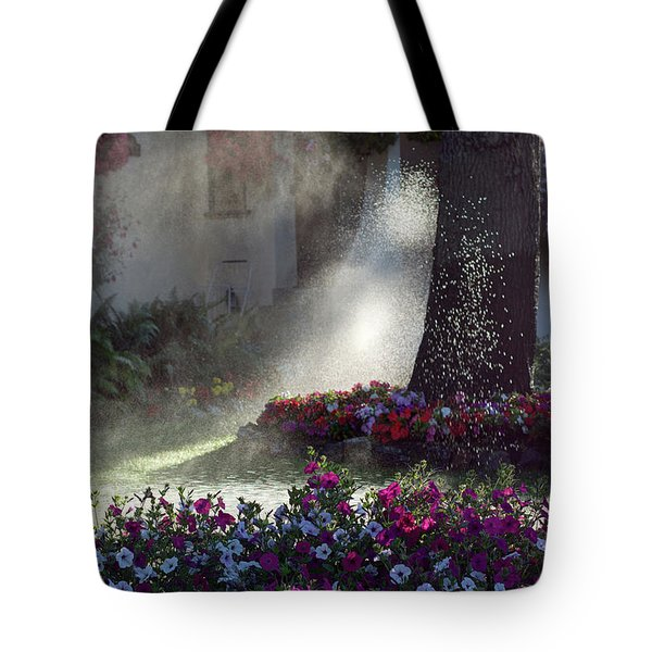 Watering The Lawn Tote Bag by Keith Boone