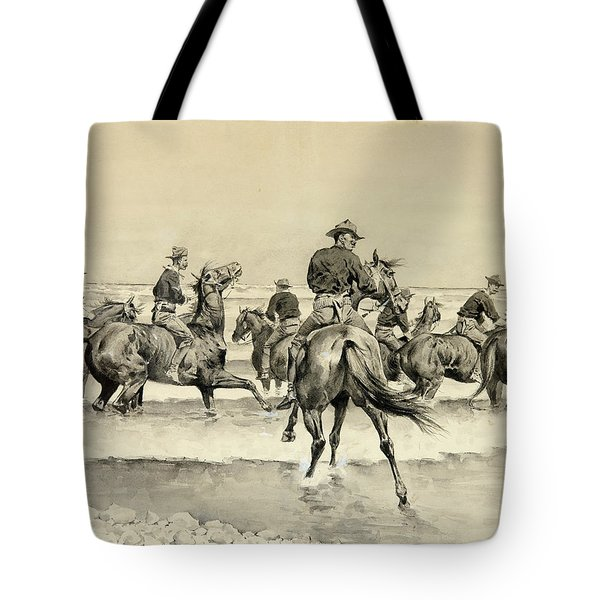 Watering The Texas Horses Of The Third Cavalry In Lake Michigan Tote Bag