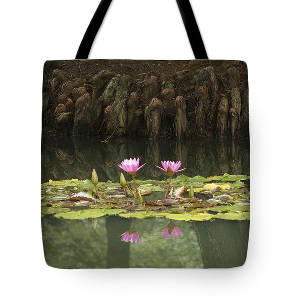 Waterlilies And Cyprus Knees Tote Bag