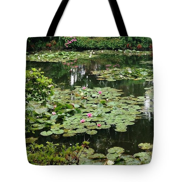 Tote Bag featuring the photograph Waterlilies At Monet's Gardens Giverny by Therese Alcorn