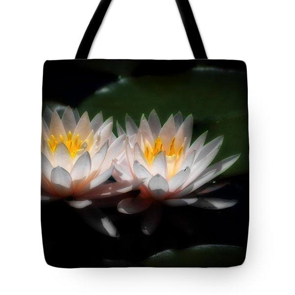 Waterlilies In Moonglow Tote Bag by Lynne Jenkins