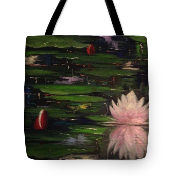 Tote Bag featuring the painting Waterlilies - Original Sold by Therese Alcorn