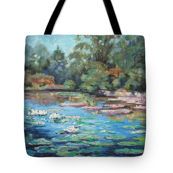 Waterlilies Pond In Tower Grove Park Tote Bag