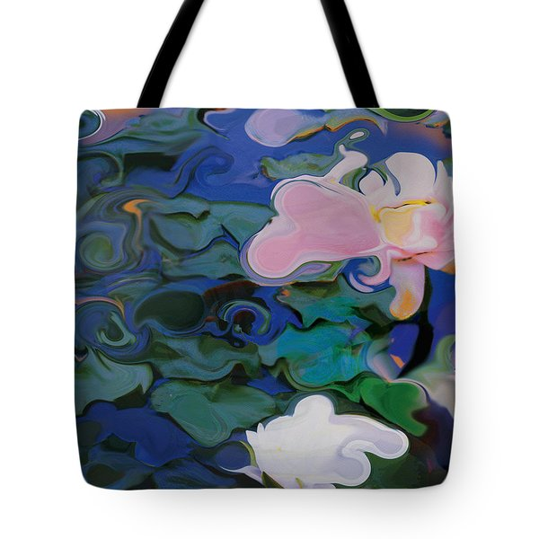 Tote Bag featuring the painting Waterlilies Six by David Klaboe