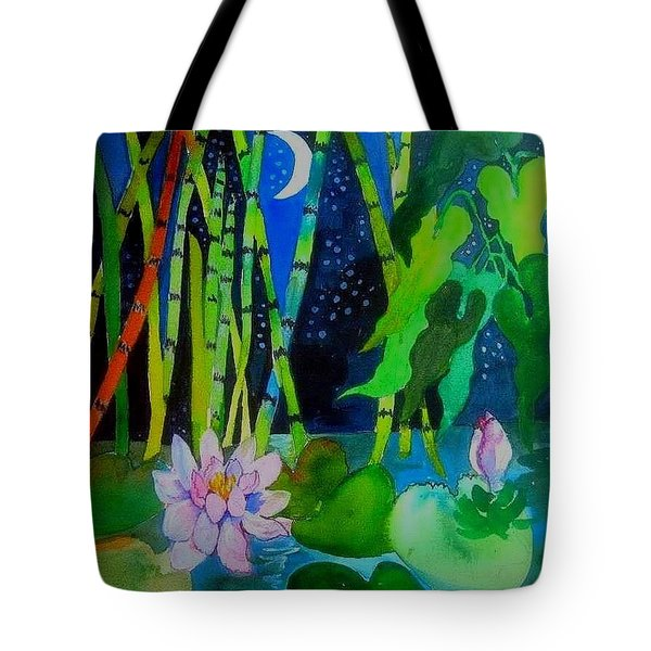 Waterlillies At Midnight Tote Bag