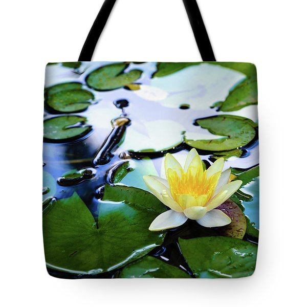 Waterlilly On Blue Pond Tote Bag