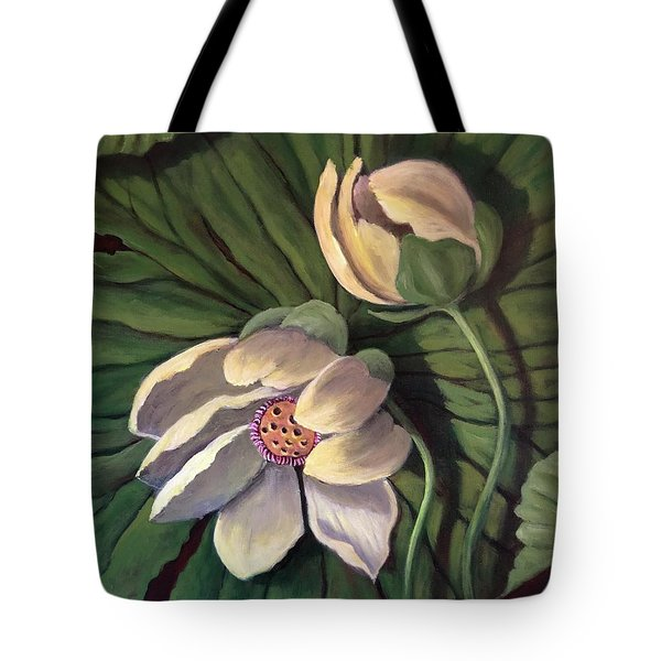 Waterlily Like A Clock Tote Bag