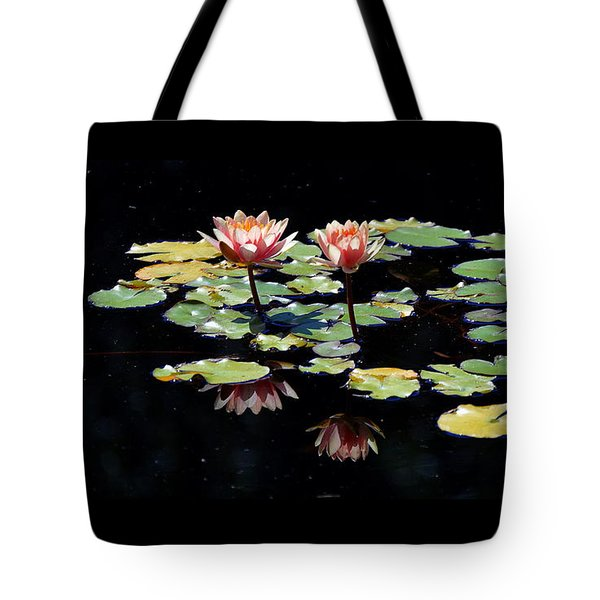 Tote Bag featuring the painting Waterlily Panorama by Marilyn Smith