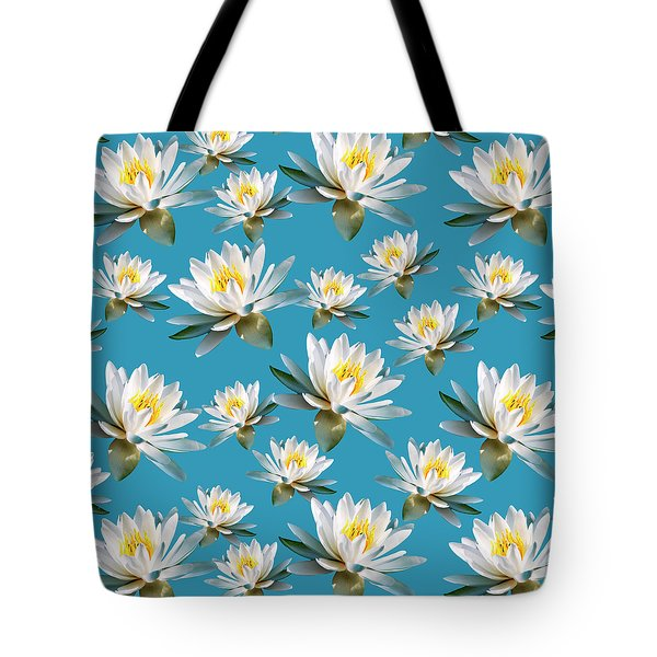 Tote Bag featuring the mixed media Waterlily Pattern by Christina Rollo