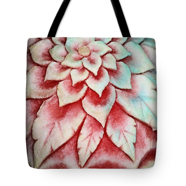 Tote Bag featuring the photograph Watermelon Carving by Kristin Elmquist