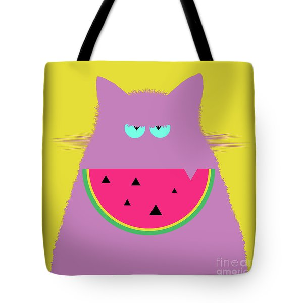 Watermelon Lilac Cat Tote Bag