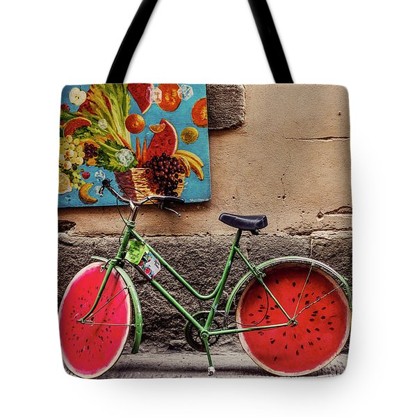 Watermelon Wheels Tote Bag by Happy Home Artistry