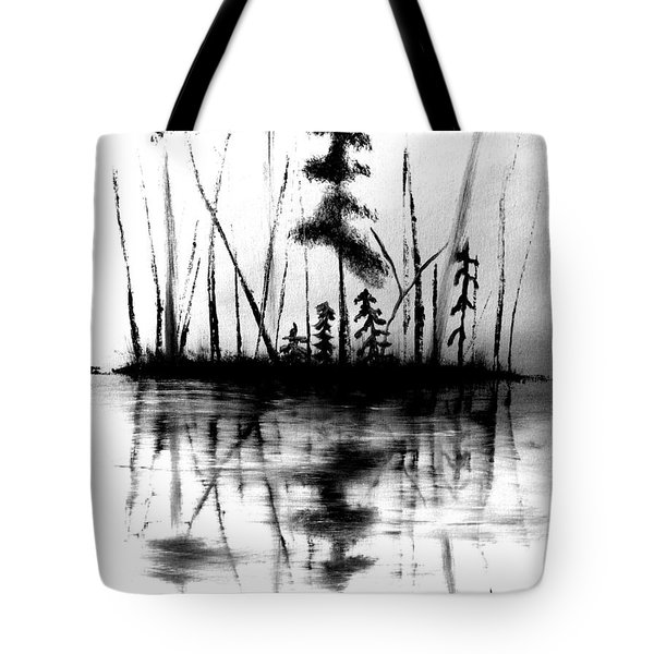 Tote Bag featuring the painting Waters Edge by Denise Tomasura