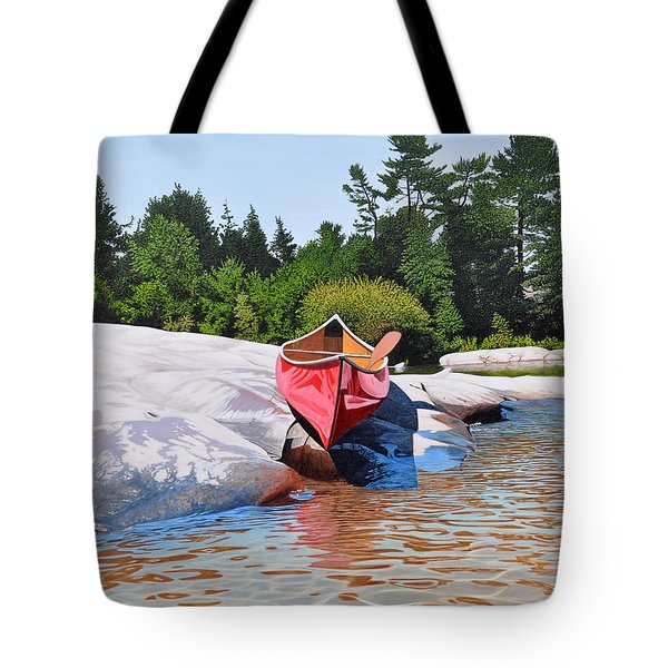 Tote Bag featuring the painting Waters Edge by Kenneth M Kirsch