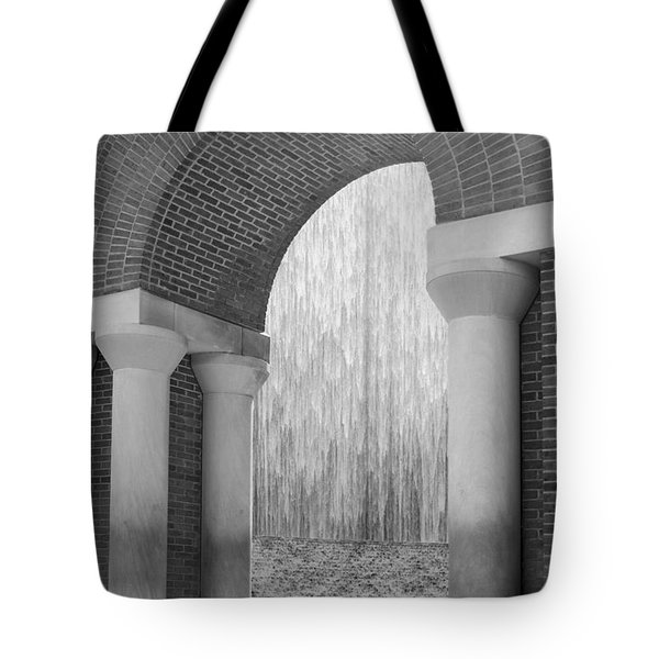 Waterwall And Arch 3 In Black And White Tote Bag