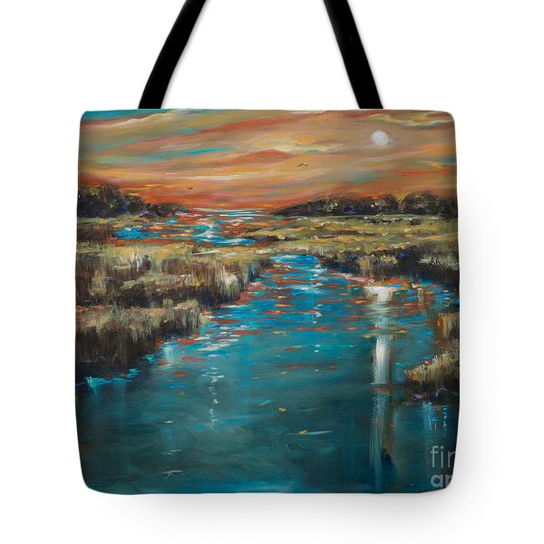 Tote Bag featuring the painting Waterway Sunset by Linda Olsen
