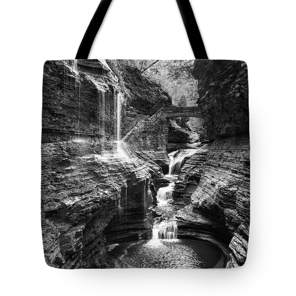 Watkins Glen 2015 02 Panorama Black And White Tote Bag