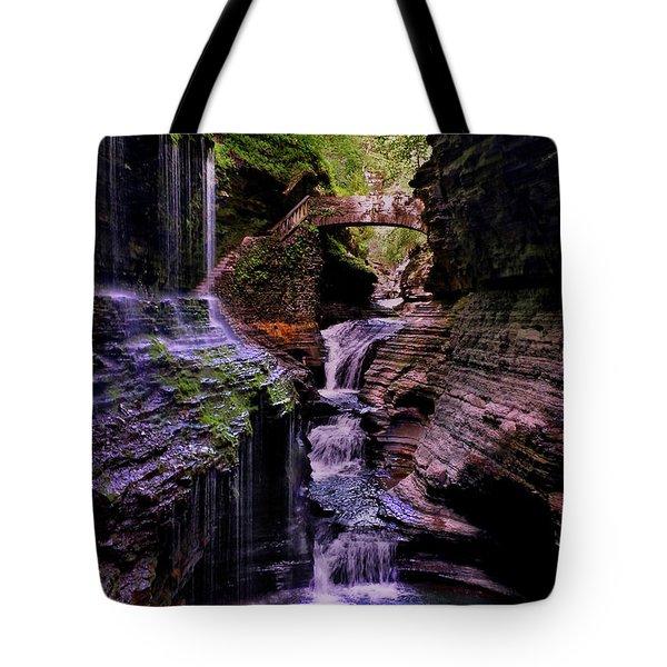 Watkins Glen State Park - Rainbow Falls 002 Tote Bag by George Bostian