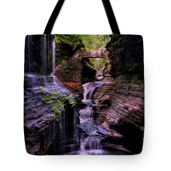 Watkins Glen State Park - Rainbow Falls 002 Tote Bag