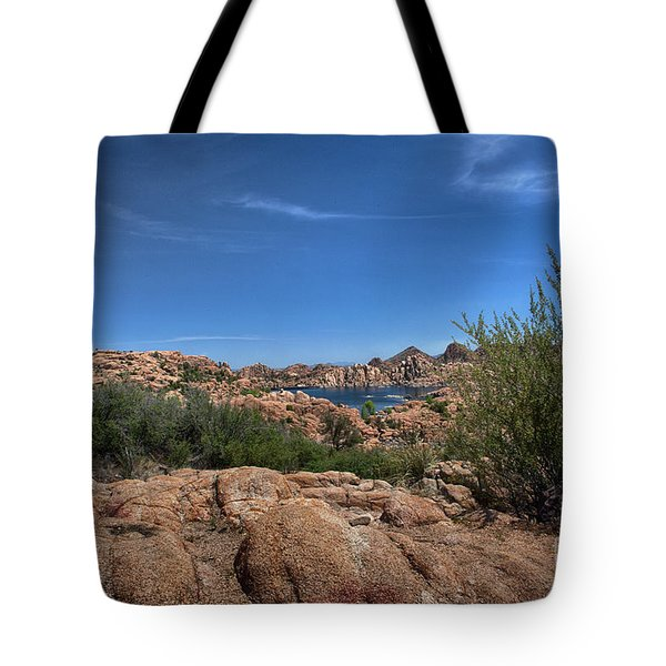 Watson Lake And The Granite Dells Tote Bag by Anne Rodkin