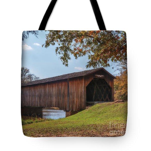 Tote Bag featuring the photograph Watson Mill Bridge by Sharon Seaward