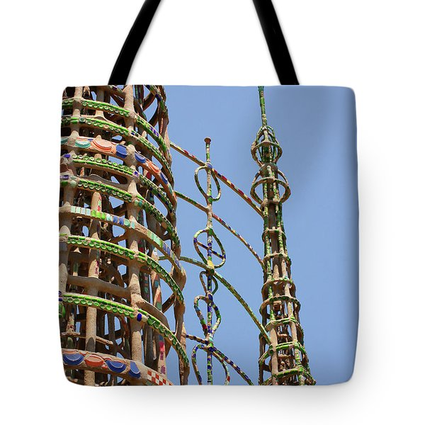 Tote Bag featuring the photograph Watts Towers by Art Block Collections