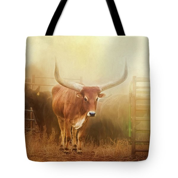 Watusi In The Dust And Golden Light Tote Bag