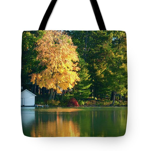 Waupaca Chain Boathouse Tote Bag by Trey Foerster