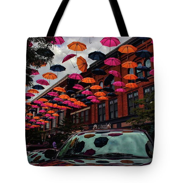Tote Bag featuring the photograph Wausau's Downtown Umbrellas by Dale Kauzlaric