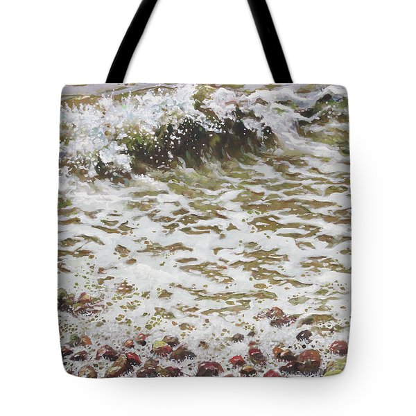 Tote Bag featuring the painting Wave And Colorful Pebbles by Martin Davey