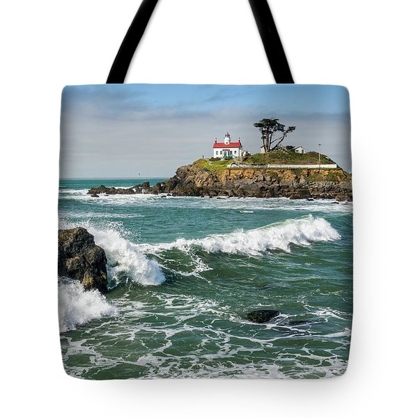Tote Bag featuring the photograph Wave Break And The Lighthouse by Greg Nyquist