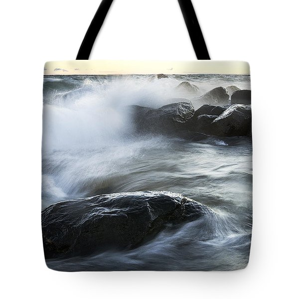 Wave Crashes Rocks 7833 Tote Bag