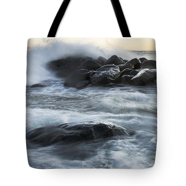 Wave Crashes Rocks 7835 Tote Bag