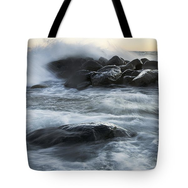 Wave Crashes Rocks 7835 Tote Bag