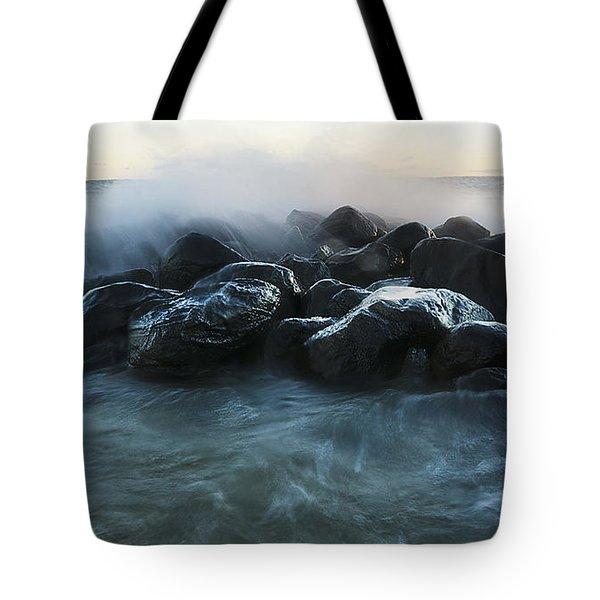 Wave Crashes Rocks 7959 Tote Bag