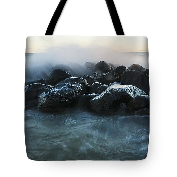 Wave Crashes Rocks 7959 Tote Bag