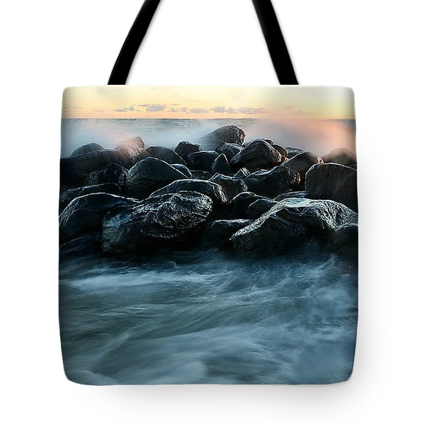 Wave Crashes Rocks 7941 Tote Bag
