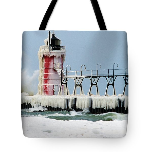 Wave Crashing On Snow-covered South Tote Bag