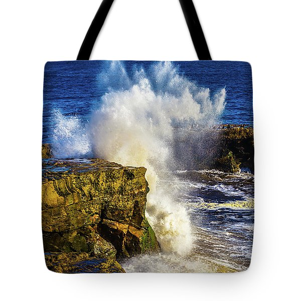 Wave Crashing Santa Cruz Tote Bag