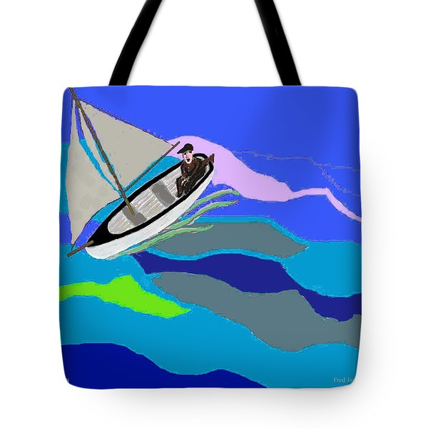 Wave Tossed Boat Tote Bag by Fred Jinkins