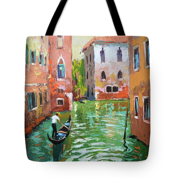 Wave Under The Oars Of The Gondola, City Scene. Tote Bag