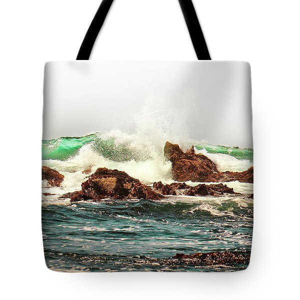 Waves Against The Rocks In Pacific Grove California Tote Bag