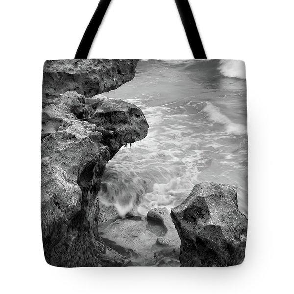 Waves And Coquina Rocks, Jupiter, Florida #39358-bw Tote Bag