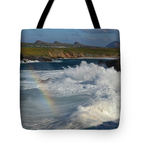Waves And Rainbow At Clogher Tote Bag by Barbara Walsh